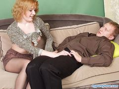 Nasty guy enjoying pantyhosejob before playing sizzling hot games on sofa